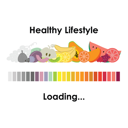 install: vector illustration of healthy lifestyle design with loading bar and different colorful fruits as begining of better nutrition period in someones life