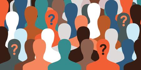 horizontale Vektor-Illustration für große Anzahl von Menschen mit Ladebalken auf ihren Gesichtern als ein Konzept für die Identifizierung oder Warteprozess für Website Banner Hintergrund Vektorgrafik