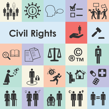 vector illustration of civil rights icons for individuals freedom protection from discrimination equality and justice concepts