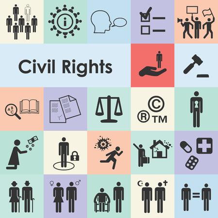 illustration vectorielle des icônes des droits civiques pour les individus liberté protection contre la discrimination concepts d'égalité et de justice
