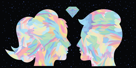 vector illustration of colorful holographic rainbow couple on the dark sky background for cosmic spiritual love concept