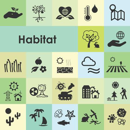 Vector illustratie van habitat pictogrammen voor visualizng van ecologische omgevingsvoorwaarden voor verschillende soorten en mensen als stad oceaan bos Stockfoto - 85337351