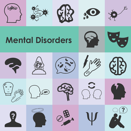 vector illustration of mental disorders icons for different psychiatric diseases and conditions as depression phobia emotional problems visualization Vectores