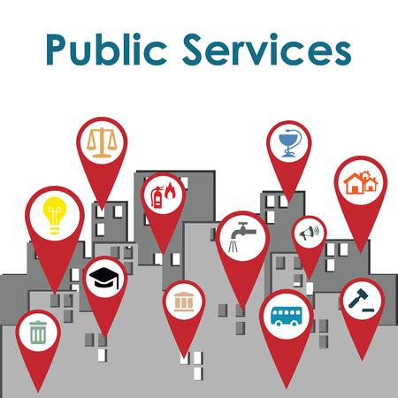Ilustración de vector de marcadores de mapa de servicios públicos en la ciudad como concepto de orientación