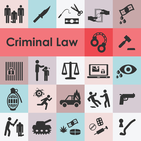 vector illustration of criminal law icons with different violent and deviant behaviours such as murder theft corruption drugs trade and crime symbols