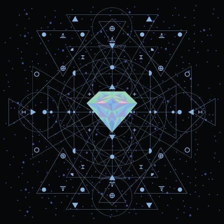 우주 영적 구조와 신성한 기하학 개념에 대 한 어두운 하늘 배경에 화려한 홀로그램 크리스탈의 벡터 일러스트 레이 션