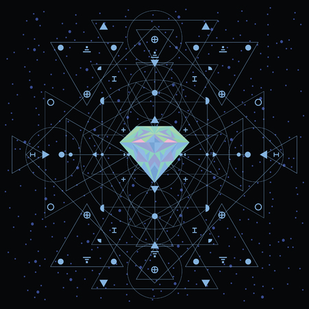 vector illustration of colorful holographic crystal on the dark sky background for cosmic spiritual structure and sacred geometry concept