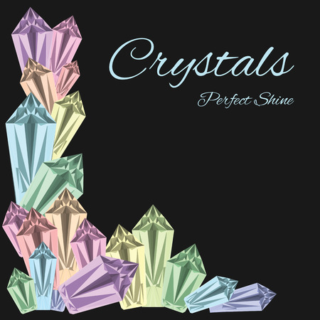 vector illustration of colorful crystals frame on the dark background for jewellery shop design or crystalline solid cave visualization  Ilustração