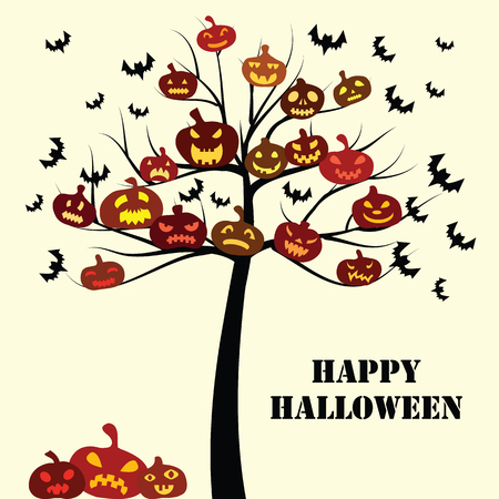vector illustration for Halloween holiday design card with pumpkins decoration on the tree and bats flying around and with greeting text