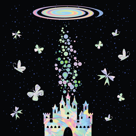 vector illustration of colorful holographic rainbow castle on the dark sky background for cosmic spiritual temple concept with spiral galaxy and shiny lights Illustration