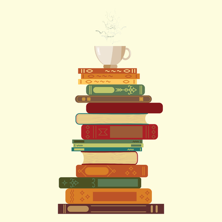 vector illustration of tower from books with cup of hot coggee on the top for reading time concept