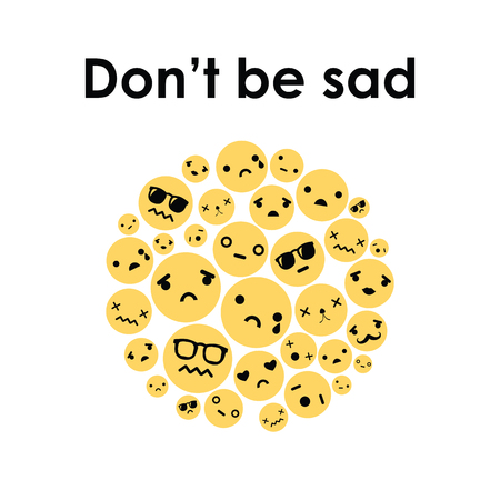 vector illustration for unhappy crying yellow faces in circle shape design and with positive text Dont Be Sad Illustration