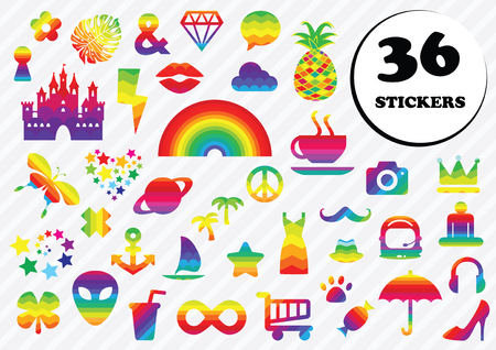 vector illustration for pastel trendy stickers for messenger or social media in modern style and different slang expressions and symbols like rainbows, hearts, stars Illustration