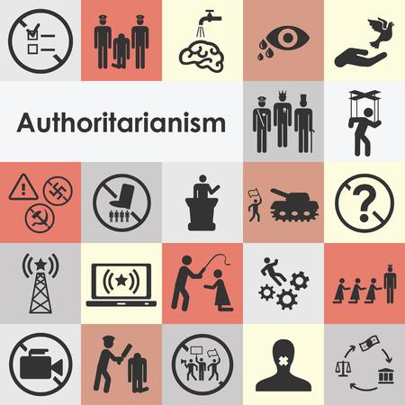 Iconos establecidos para el estilo dictador de los conceptos de la regla y la lucha contra las ideas del régimen. Foto de archivo - 85606592