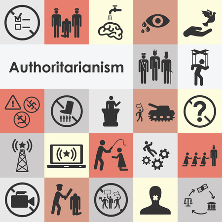 Icons set for dictator style of rule concepts and fighting against regime ideas. Illustration