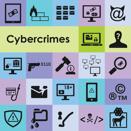 carding: vector illustration of cybercrimes icons set for malicious software programs and harming behaviour in internet visualization Illustration