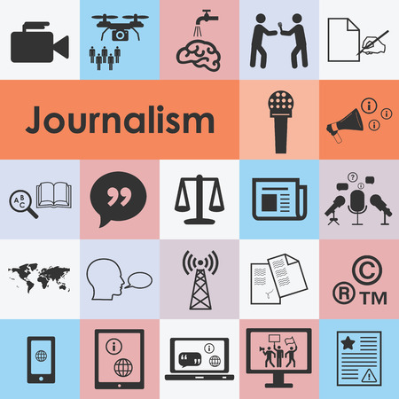 vector illustration of journalism icons set