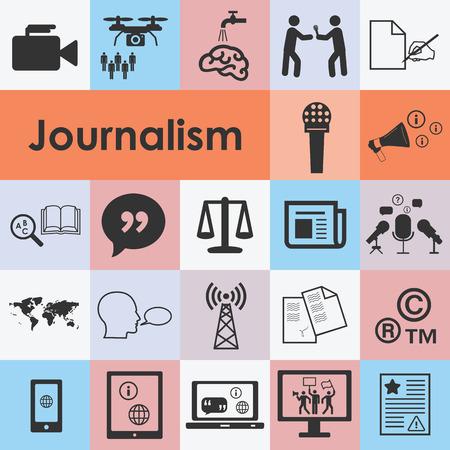 vector illustratie van journalistiek pictogrammen instellen