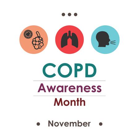 vector illustration for  COPD Chronic Obstructive Pulmonary Disease Awareness Month in november Illustration