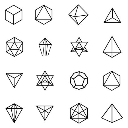 illustrazione vettoriale per gemme grafiche in bianco e nero e cristalli per sfondo o carta da parati concetto di geometria sacra