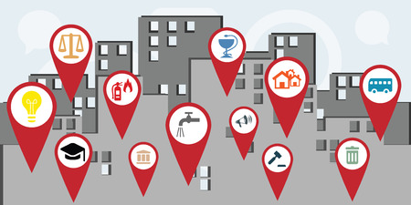vector illustration for horizontal banner of public services map markers in the city as guidance concept Ilustrace