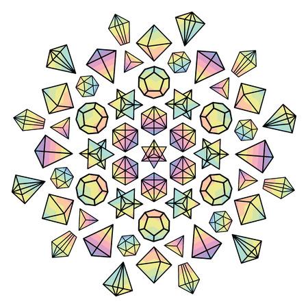 カラフルなホログラム宝石と精神的な瞑想の概念のために円形マンダラの結晶のベクトル図
