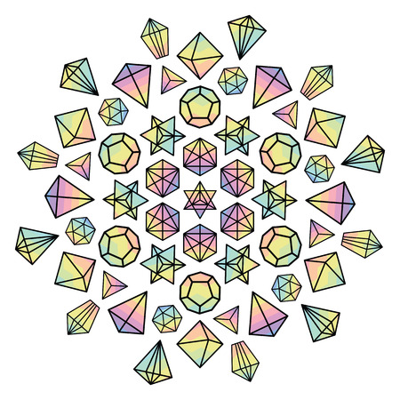 vector illustration for colorful holographic gems and crystals in circle mandala shape for spiritual meditation concepts