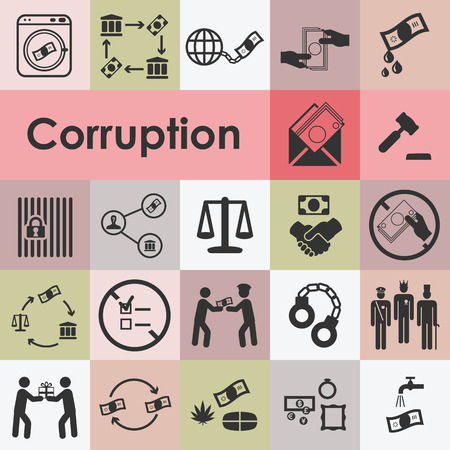 vector illustration of corruption icons set including bribery embezzlement fraud symbols and pictograms Ilustracja