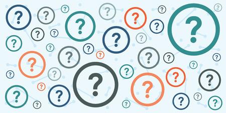 インタビューとお知らせ水平バナーを質問とアドバイスを提供する疑問符抽象的な背景とコンサルティングのベクトル イラスト