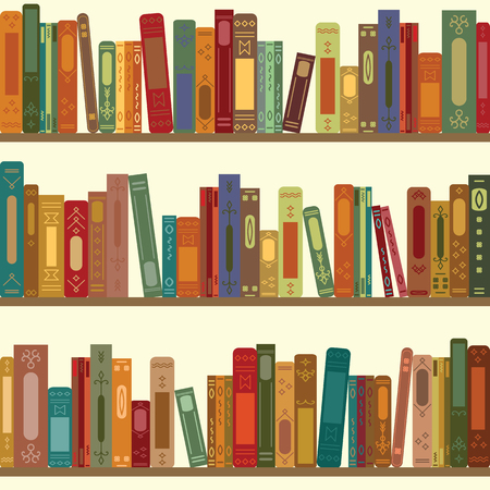 mania: vector illustration of seamless pattern of bookshelves with retro style books for vintage bookstore backround or wallpaper