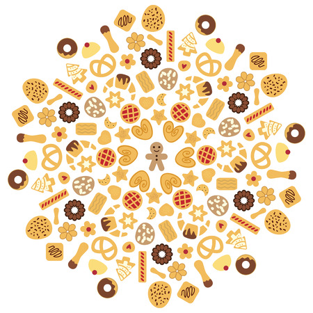 vector illustration for cookies radial concentric ornament in circle shape of mandala for bakery shop concept or decoration Illustration