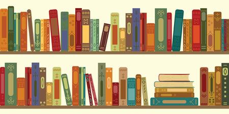 vector illustration of horizomtal banner of bookshelves with retro style books for vintage bookstore backround or wallpaper Vettoriali