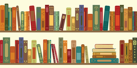 vector illustration of horizomtal banner of bookshelves with retro style books for vintage bookstore backround or wallpaper Vectores