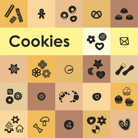 Cookies icons set with different types of pastry and cupcakes.