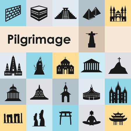 Iconos de peregrinaje establecidos con diferentes símbolos de edificios religiosos. Ilustración de vector