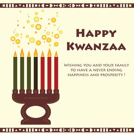 kwanzaa: Kwanzaa holiday with Kinara and text greetings.