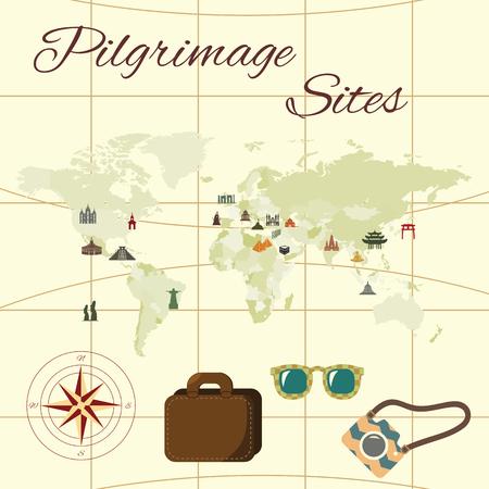 Pilgrimage sites with different religious buildings symbols.