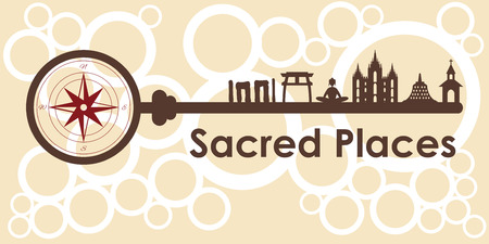 Pilgrimage sites with different sacred buildings symbols.