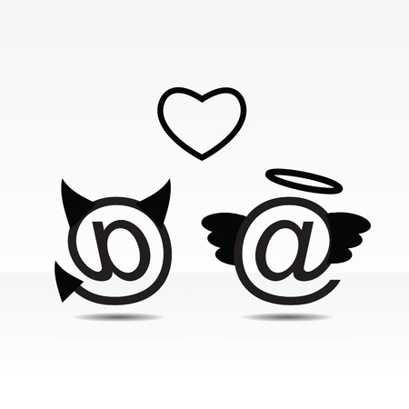 Angel and devil email characters icon illustration.