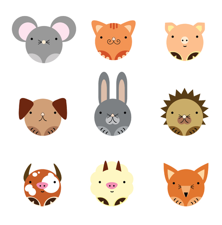 Set of cute animals drawn symmetrically in round shape.