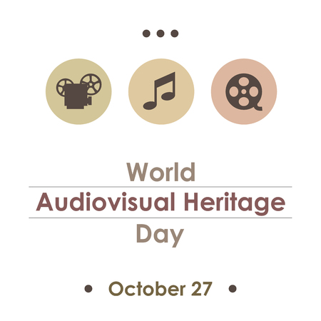 Thin line flat design of  World Day for Audiovisual Heritage banner poster or card. Vector icons collection illustration of the worldwide celebrated unesco day on white background isolated. Vintage retro style