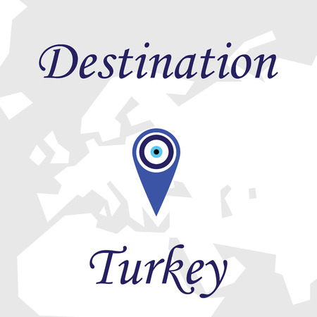 Traveling invitation poster card with nazar boncugu decoration. Vector picture of map marker for Turkey. Welcoming message to visit Turkey