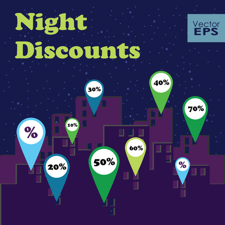 Night discounts map markers in the city. Vector illustration for poster banner card