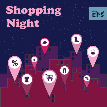 retail therapy: Shopping night map markers. Vector illustration for poster banner business card