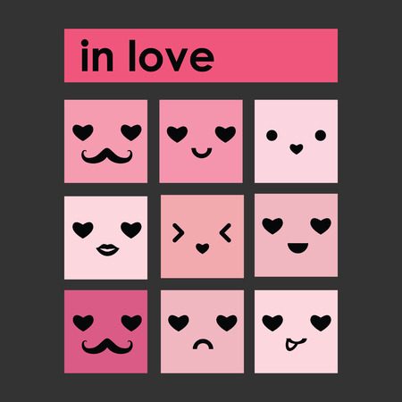 mania: cute emoticons, emoji, faces with emotions, in fun cartoon style. Vector icons set