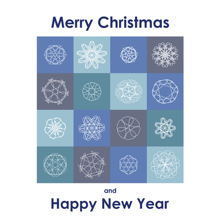 Christmas Greeting Card. Merry Christmas and Happy New Year lettering, vector illustration in blue colors