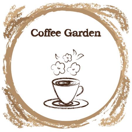 세련된 커피 컵 스케치 된 디자인 커피 숍이나 맛된 커피를위한 카페 아이콘