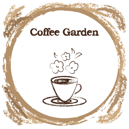 Stylish coffee cup sketched design vector icon for coffee shop or cafe for flavored coffees