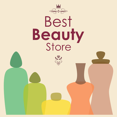 Vector banner with cosmetic items and bottles, best beauty store lettering and fancy design Illustration