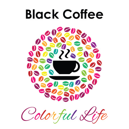 Stylish design for coffee shop or cafe, vector icon or logo coffee cup with plenty of colored beans in circle shape, quote poster template Ilustração
